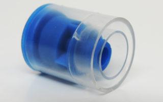 Tamper Evident Cap for IV Syringe, Blue, Clear