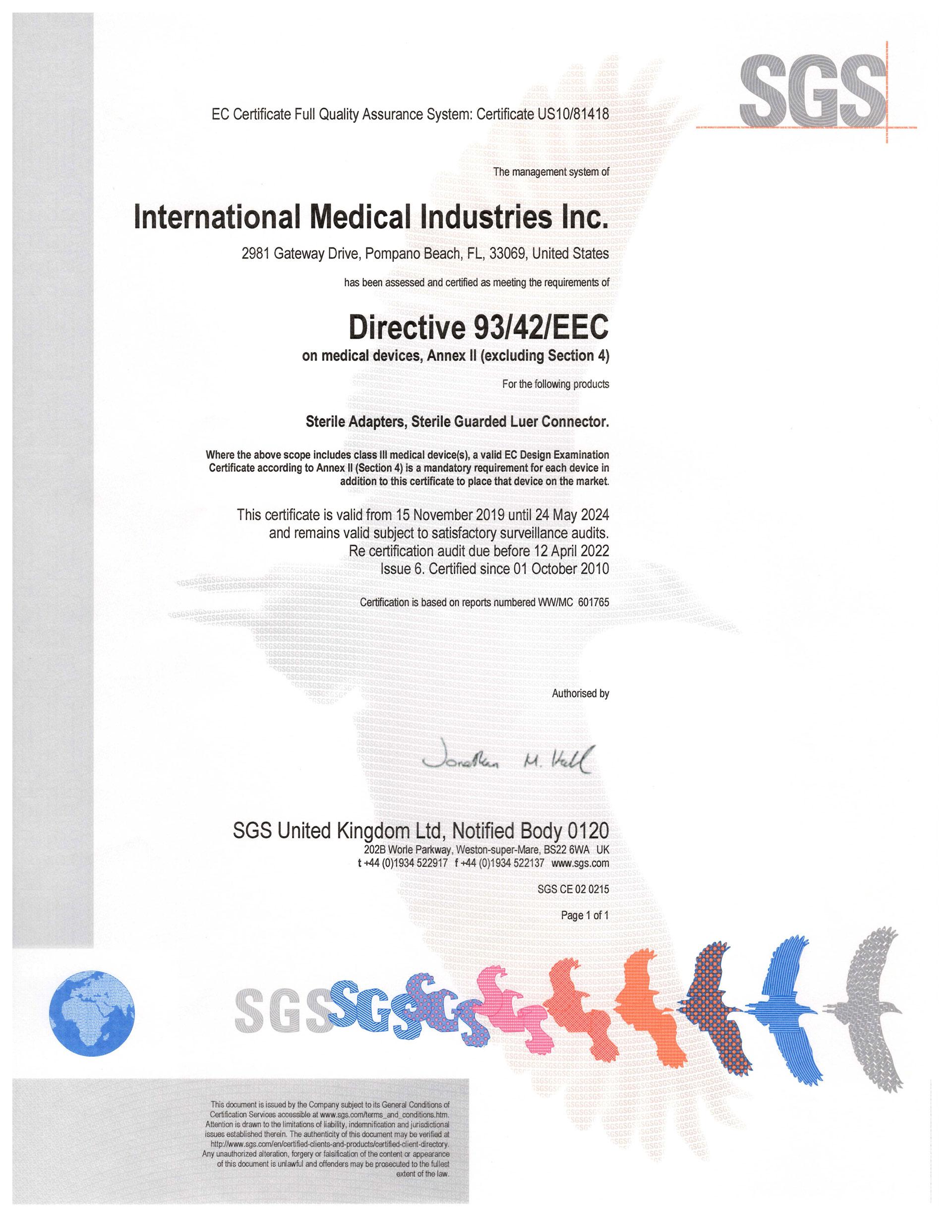 IMI - EC Certificate Annex II