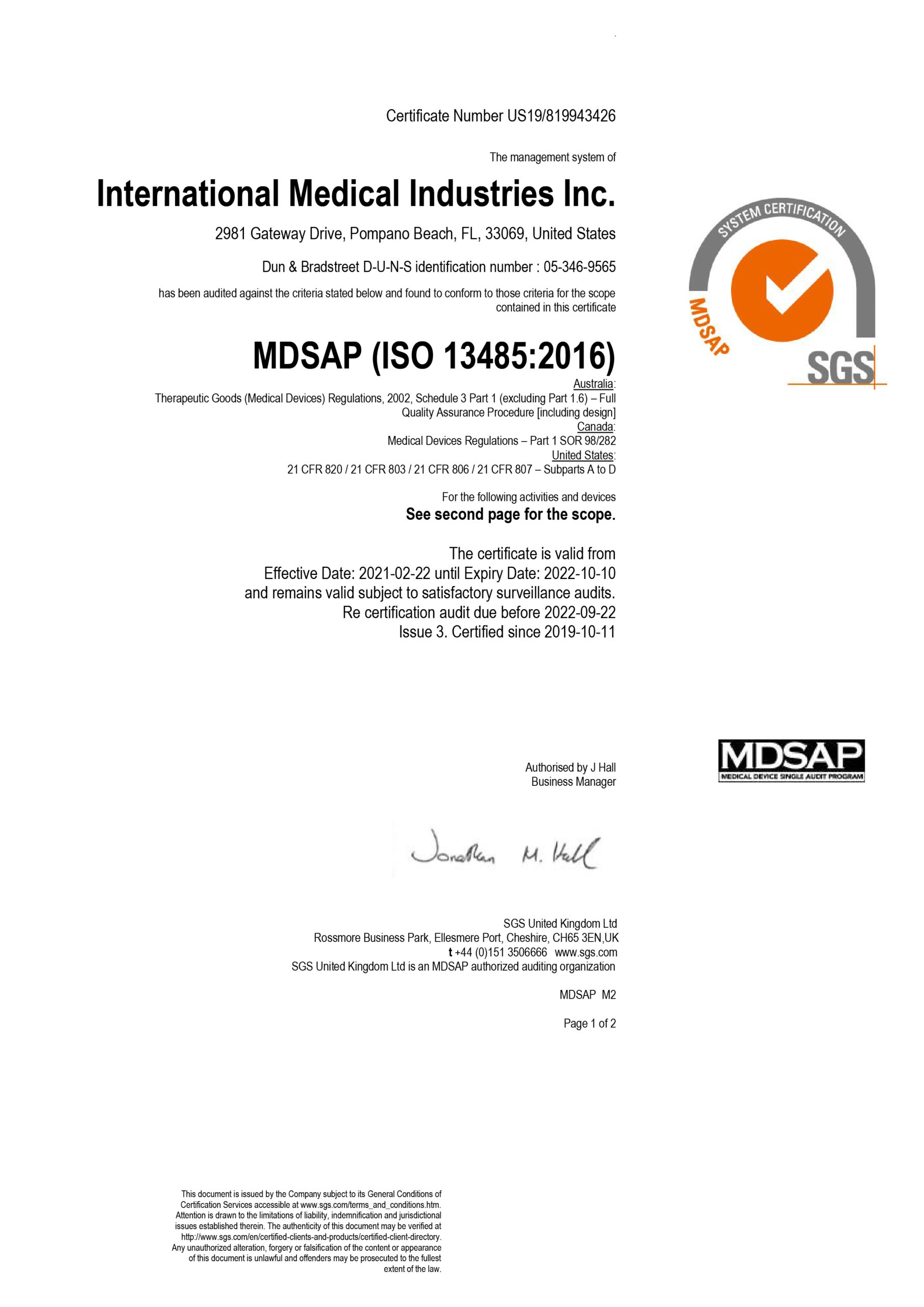 IMI MDSAP Certification